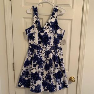 White Dress with Navy Flowers, New with Tags